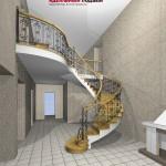 Проект лестницы с кованым ограждение.