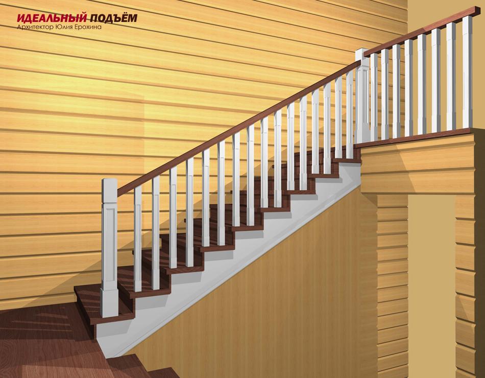 Эскизный проект деревянной лестницы с 3D визуализацией
