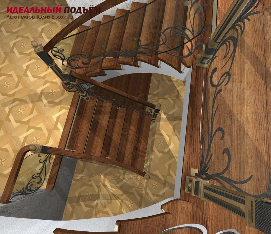 Проект бетонной лестницы с кованым ограждением