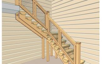 Проект лестницы из брёвен