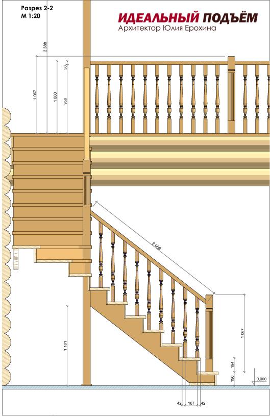 Проект лестницы в срубе
