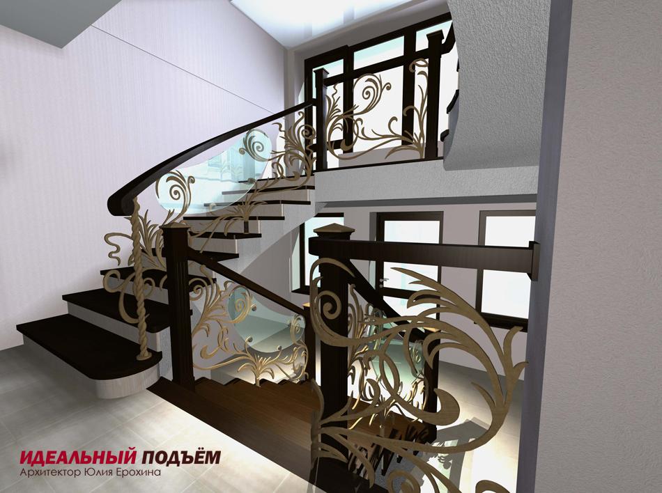 Проект бетонной лестницы с кованым ограждением и вставками из стекла.