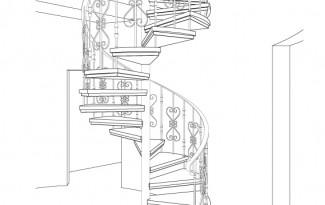 проект винтовой лестницы на металлокаркасе